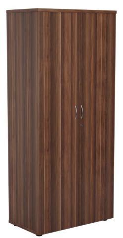 Ziggy Wooden Double Door Cupboard In Dark Walnut Angled View