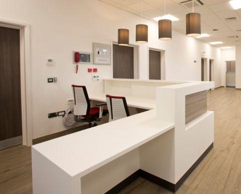 Bespoke Reception Desk White Corian Veterinary Reception Desk