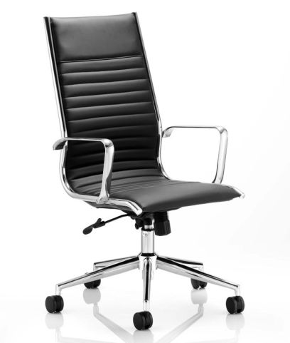Ital Black Leather Designer Chair