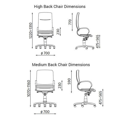 Nova High Back Chair Dimensions
