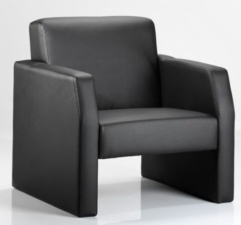 Melba Black Leather Siglle Sofa Front Angle View