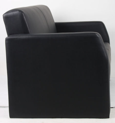 Marlba Black Leather Sofa Side View