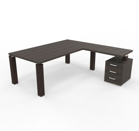 TAO Executive Desk With Three Drawer Pedestal And Return Dark Oak