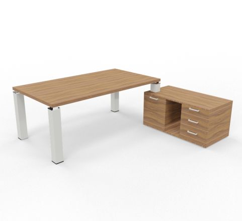 Tao Executive Desk 2000mm X 1000mm With Return And Pedestal Walnut Aluminium Leg