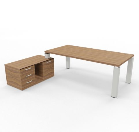 Tao Executive Desk 2000mm X 1000mm With Return And Pedestal Walnut Aluminium Leg Left Hand