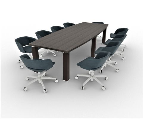 Tao Boardrooom Table 3200mm Boat Shaped With Seating