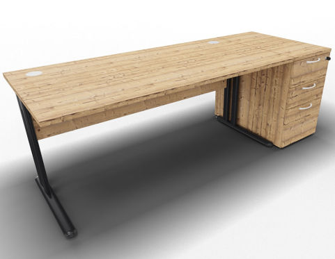 Optimize Single Desk And Ped Timber