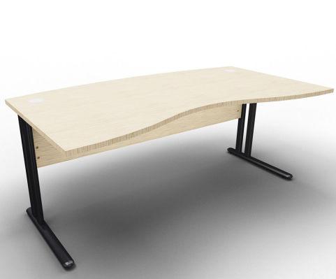 Optimize Managers Double Wave Desk Bleached Oak