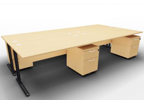 Optimize Four Desk And Mobile Pedestal Bundle Beech
