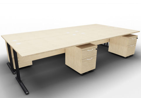 Optimize Four Desk And Mobile Pedestal Bundle Bleached Oak