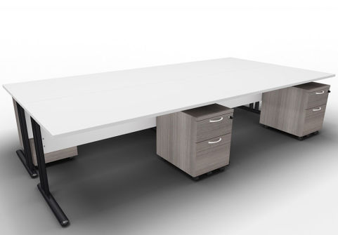 Optimize Four Desk And Mobile Pedestal Bundle Light Grey Cedar