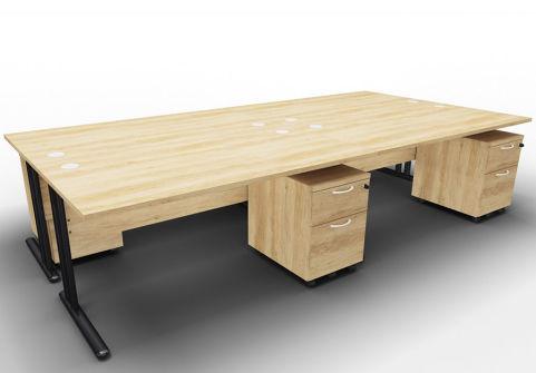 Optimize Four Desk And Mobile Pedestal Bundle Nebraska Oak