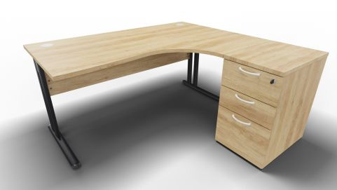 Optimize Right Hand Corner Desk And Ped Nebraska Oak