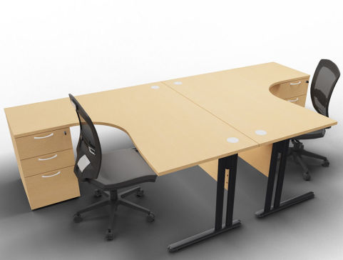 Optimize 2 Corner Desks And Peds Beech