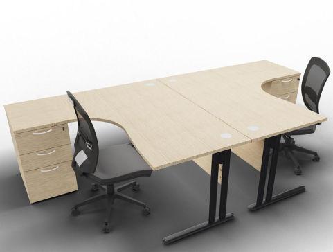 Optimize 2 Corner Desks And Peds Bleached Oak Anthracite