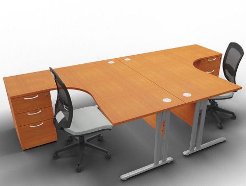 Optimize 2 Corner Desks And Peds Cherry