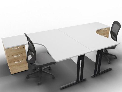 Optimize 2 Corner Desks And Peds Light Grey Nebraska Ped Front