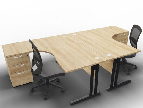 Optimize 2 Corner Desks And Peds Nebraska Anthracite Chairs