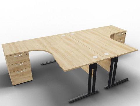 Optimize 2 Corner Desks And Peds Nebraska Anthracite