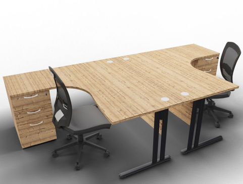 Optimize 2 Corner Desks And Peds Timber Anthracite Chairs