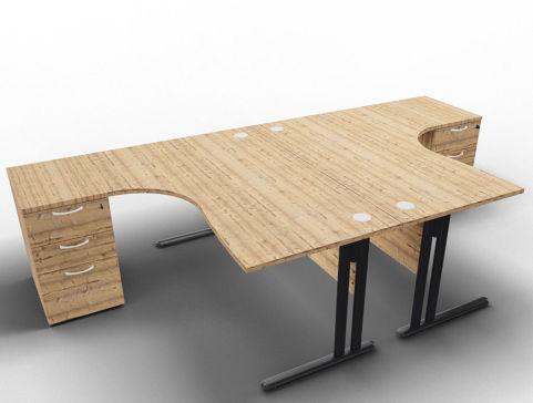 Optimize 2 Corner Desks And Peds Timber Anthracite