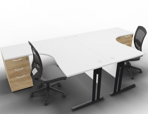 Optimize 2 Corner Desks And Peds White Nebraska Ped Front