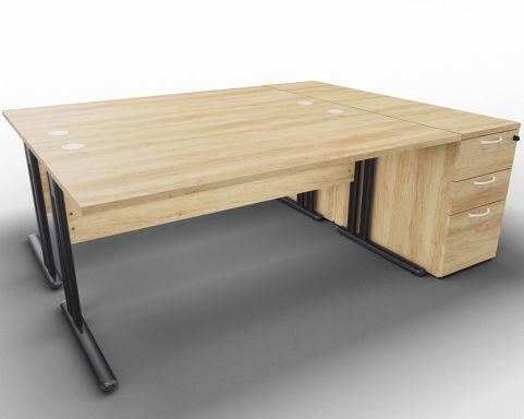 Optimize 2 Desk Bundle And Peds Nebraska Oak