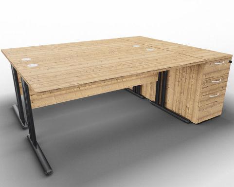 Optimize 2 Desk Bundle And Peds Timber