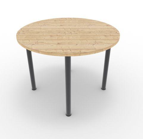 Optimize Circular Meeting Table 4 Legs Timber Finish Anthracite Leg