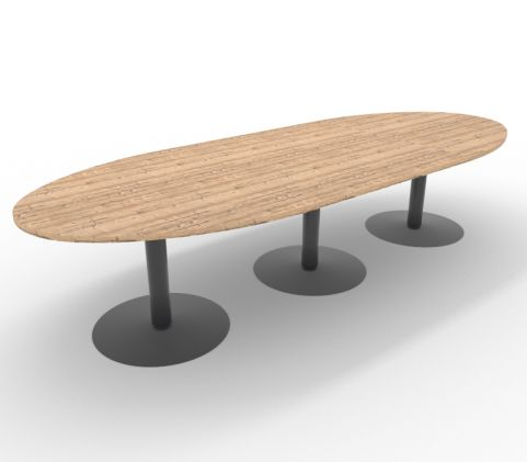 Optimize Barrel Shaped Table Timber Finish Large