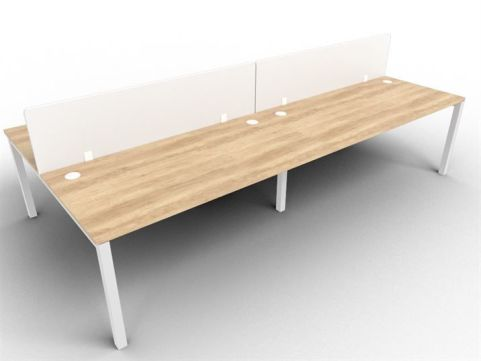 Buro Four Person Bench Desk And Acrylic Screen Package Deal Nebraska