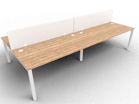 Buro Four Person Bench Desk And Acrylic Screen Package Deal Timber