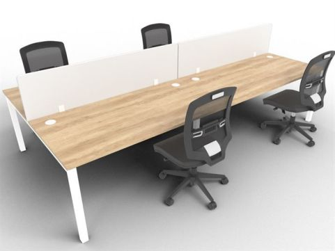 Buro Four Person Bench Desk And Acrylic Screen Package Deal Nebraska Mood View
