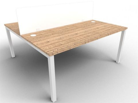 Buro Bench Two Person Bench And Acrylic Screen Package Timber