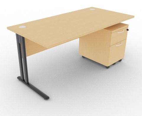 Optimize Rectangular Desk And Pedestal Beech
