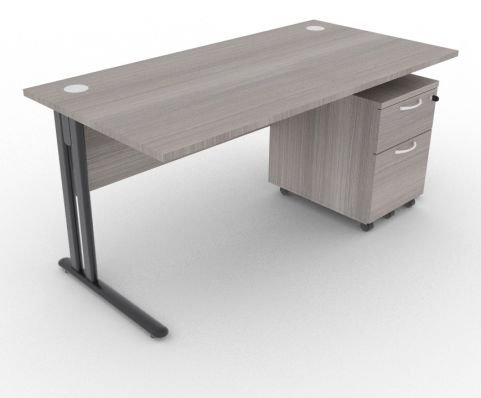 Optimize Rectangular Desk And Pedestal Cedar