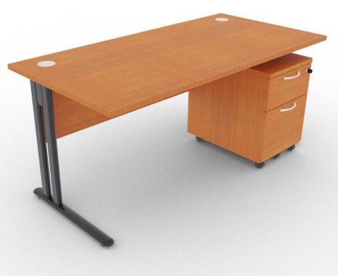 Optimize Rectangular Desk And Pedestal Cherry
