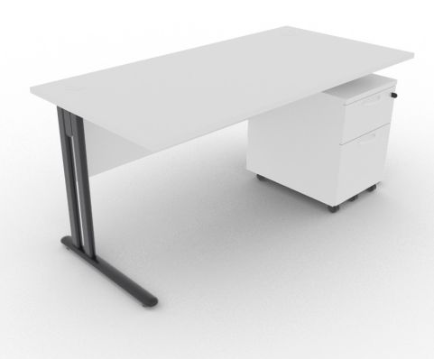 Optimize Rectangular Desk And Pedestal Light Grey