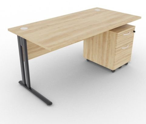 Optimize Rectangular Desk And Pedestal Nebraska Oak