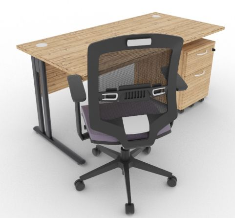 Optimize Rectangular Desk And Pedestal Timber Mood View