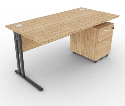 Optimize Rectangular Desk And Pedestal Timber