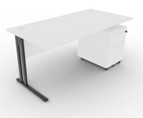 Optimize Rectangular Desk And Pedestal White