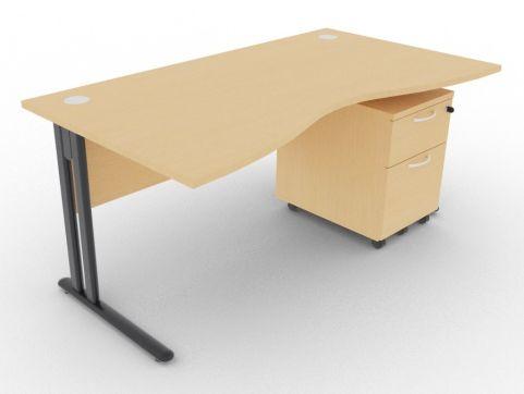 Optimize Double Wave Desk And Pedestal Beech