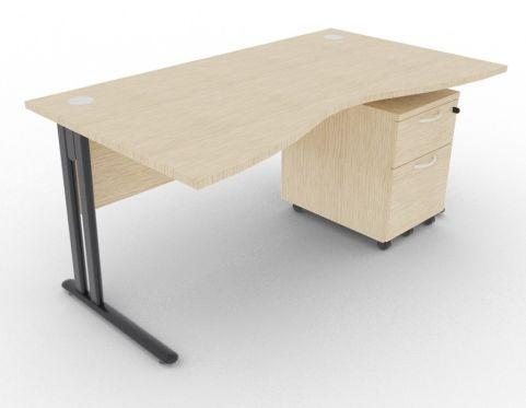 Optimize Double Wave Desk And Pedestal Bleached Oak
