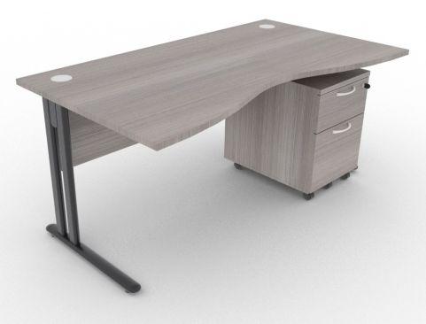 Optimize Double Wave Desk And Pedestal Cedar