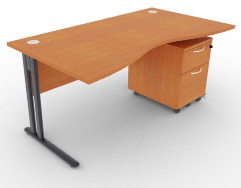 Optimize Double Wave Desk And Pedestal Cherry