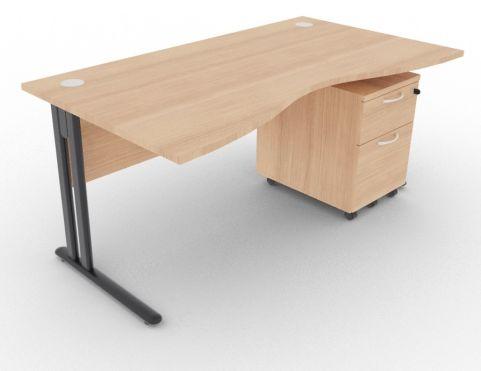 Optimize Double Wave Desk And Pedestal Havana