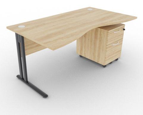 Optimize Double Wave Desk And Pedestal Nebraska Oak