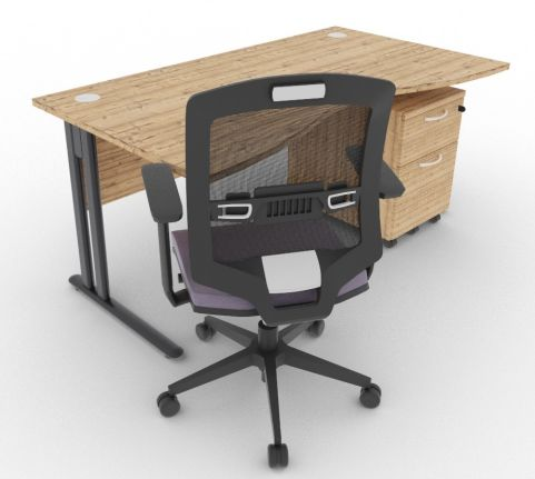 Optimize Double Wave Desk And Pedestal Timber Mood View