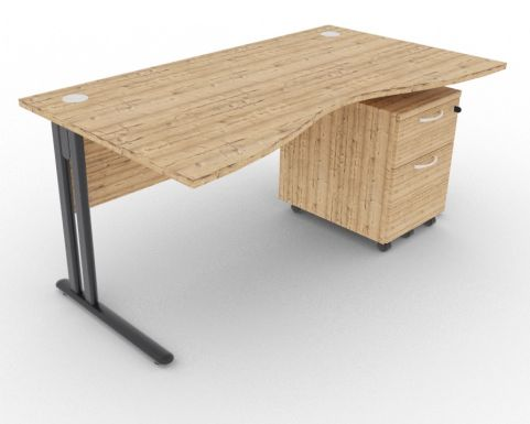 Optimize Double Wave Desk And Pedestal Timber